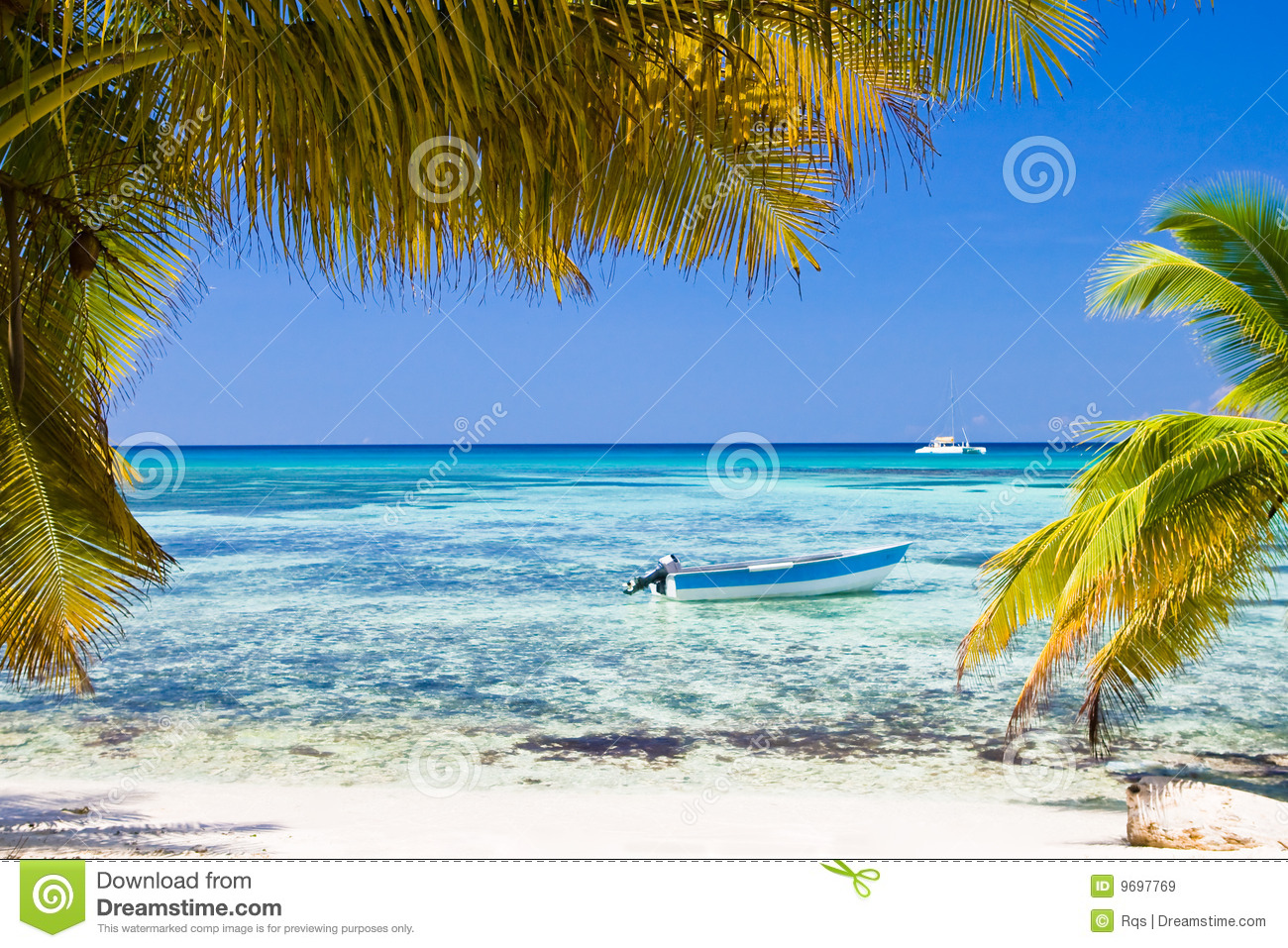 White Sand Beach Boat Blue Ocean Royalty Free Stock Images ...