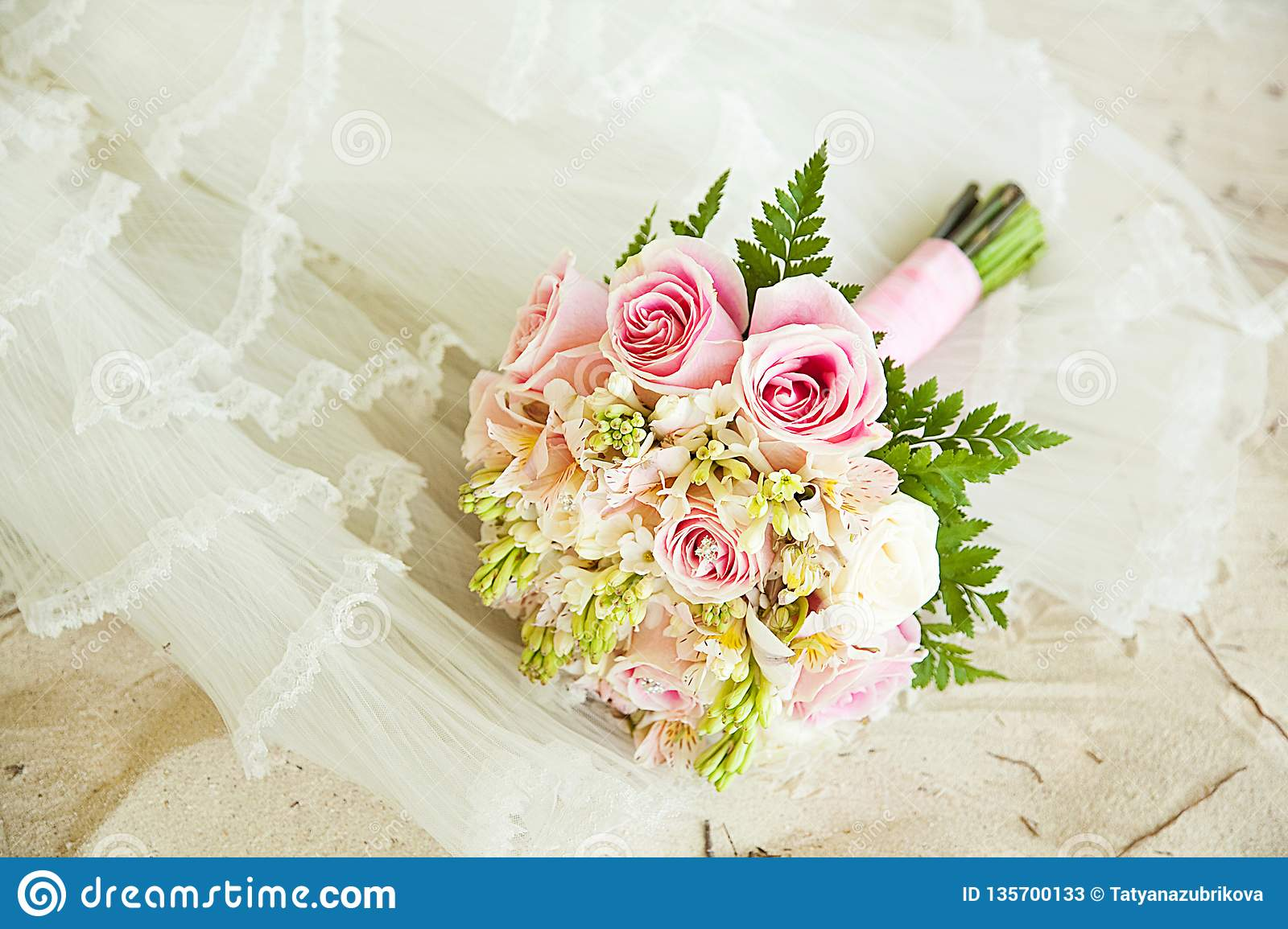 White Sand Wedding Dress And Bouquet Stock Image Image Of