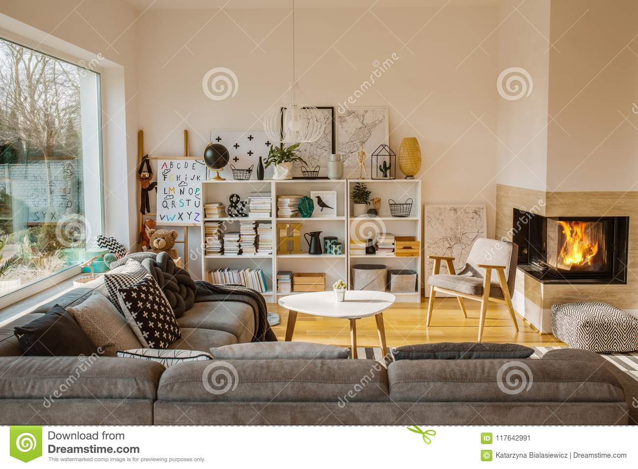 White Scandinavian Living Room Interior With Fireplace Posters