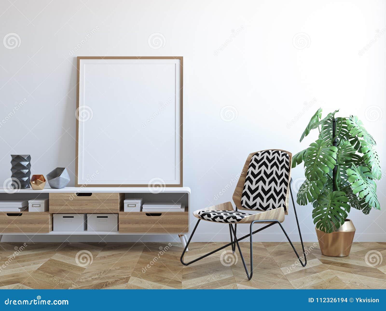 White Scandinavian Tropical Interior With Chair, Dresser, Plant, Frame. 3d  Render Illustration Mock Up.