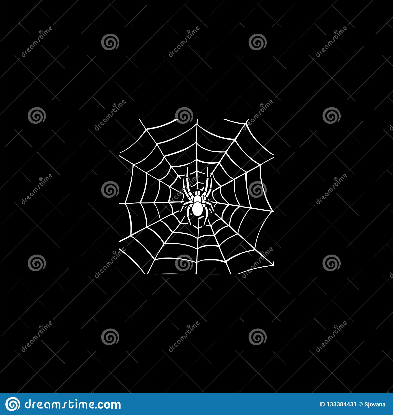 Scary Spider Web Background  Icon Or Logo On Dark Background Stock