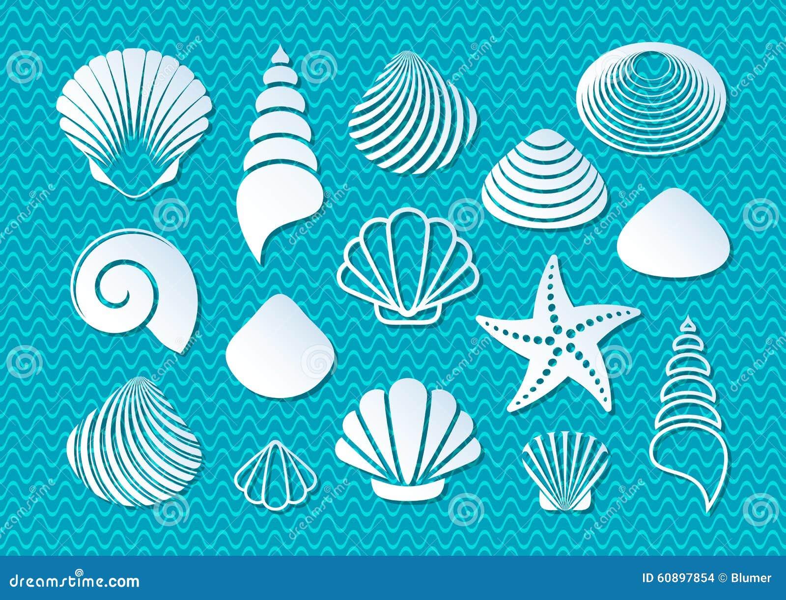 White sea shells icons