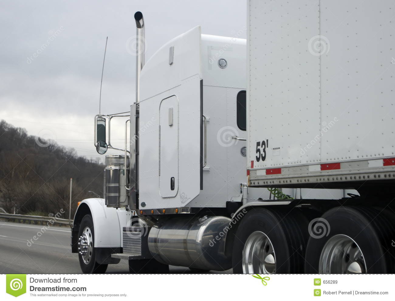 Semi Tractor Trailer : White semi tractor trailer truck royalty free stock images
