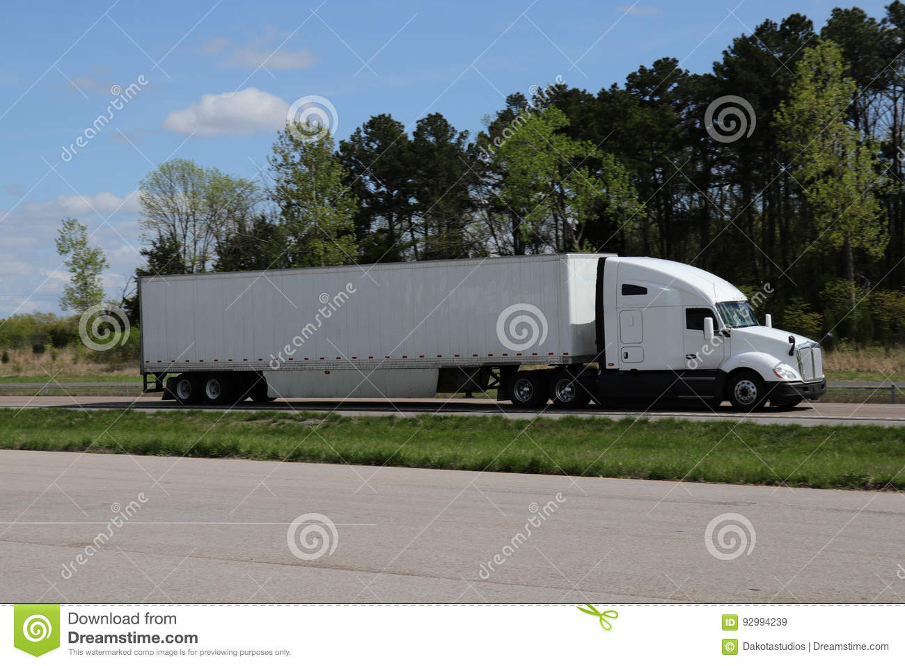 White Semi-Truck MARKINGS REMOVED Stock Image - Image of