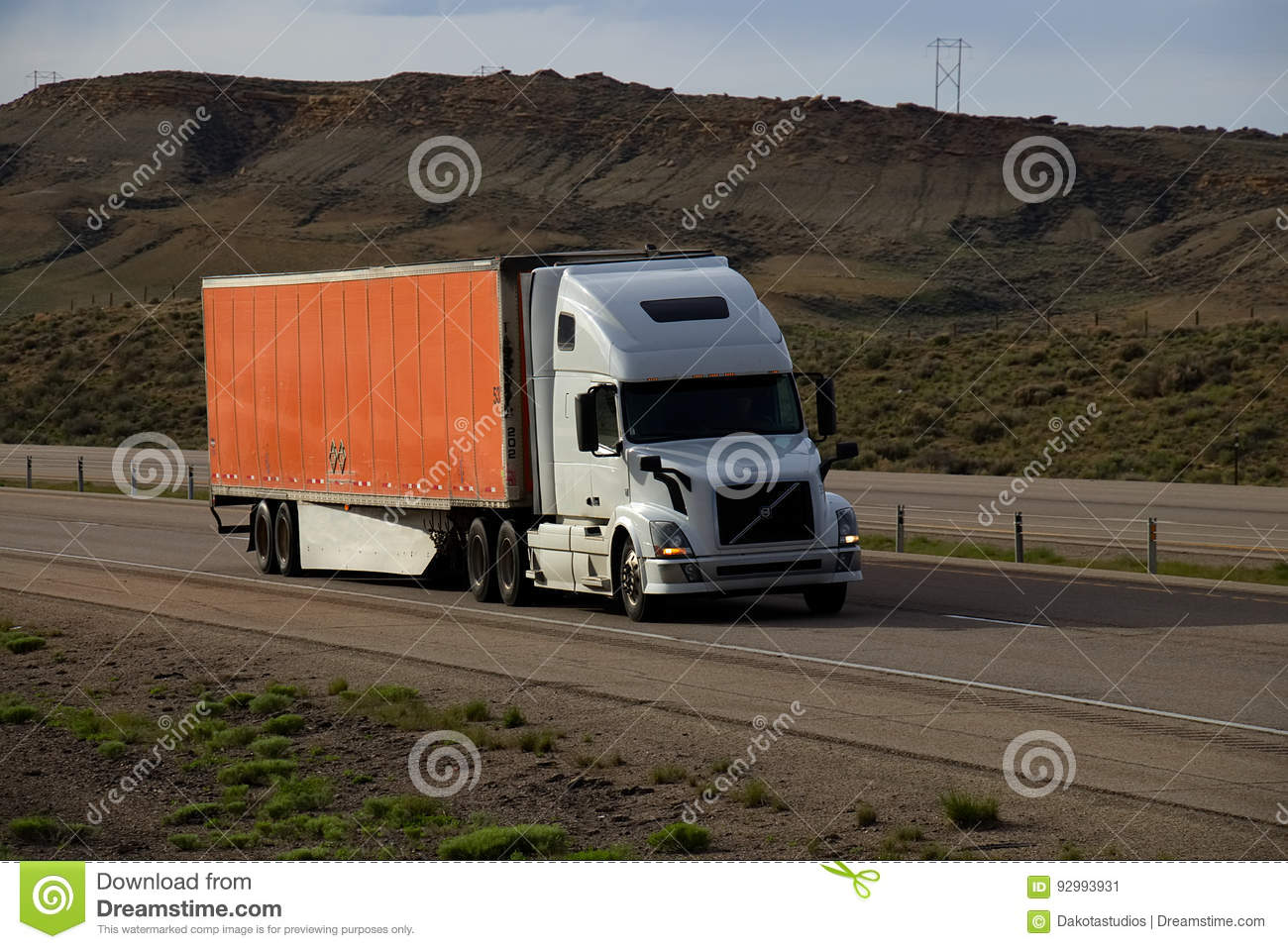 White Semi-Truck MARKINGS REMOVED Editorial Photo - Image of