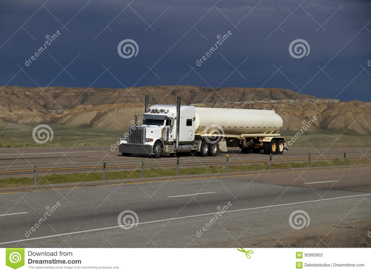 White Semi-Truck MARKINGS REMOVED Editorial Photography - Image of