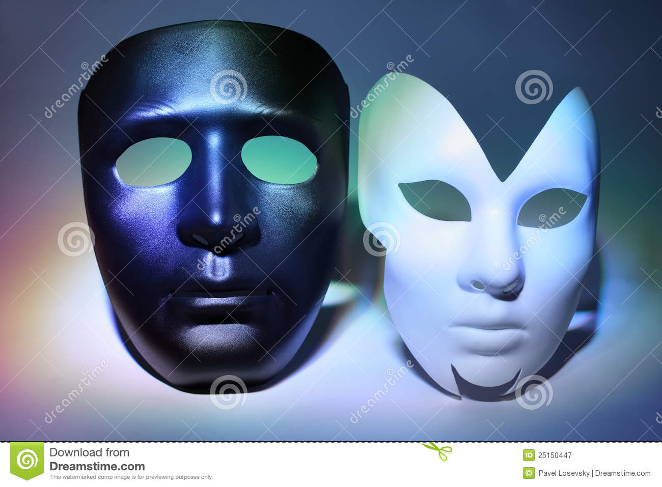 White Serious And Black Masks (man And Woman) Stock Image ...