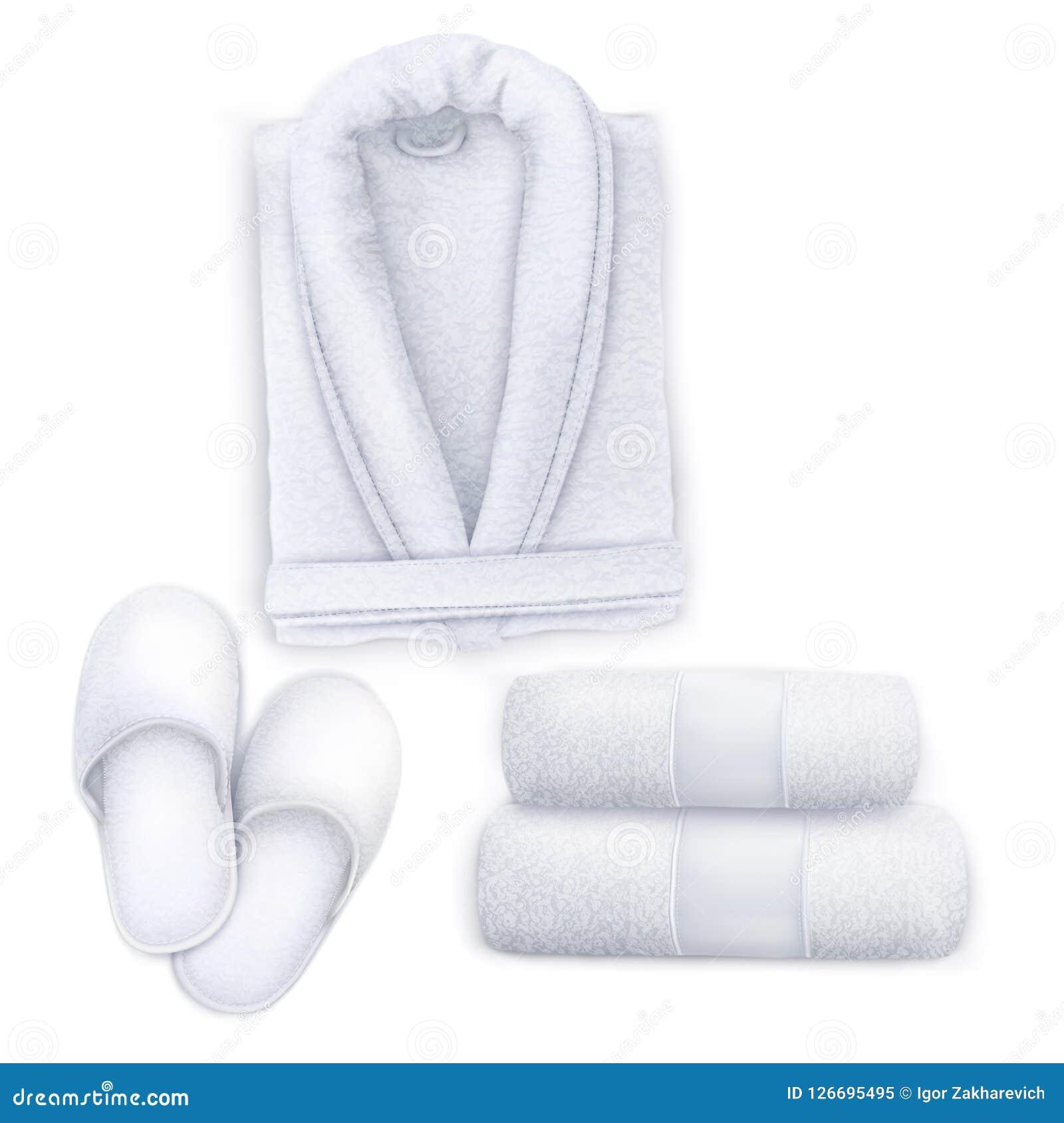 3b8512f5c42df White Set Spa Towel, Slippers, Bathrobe Stock Illustration ...
