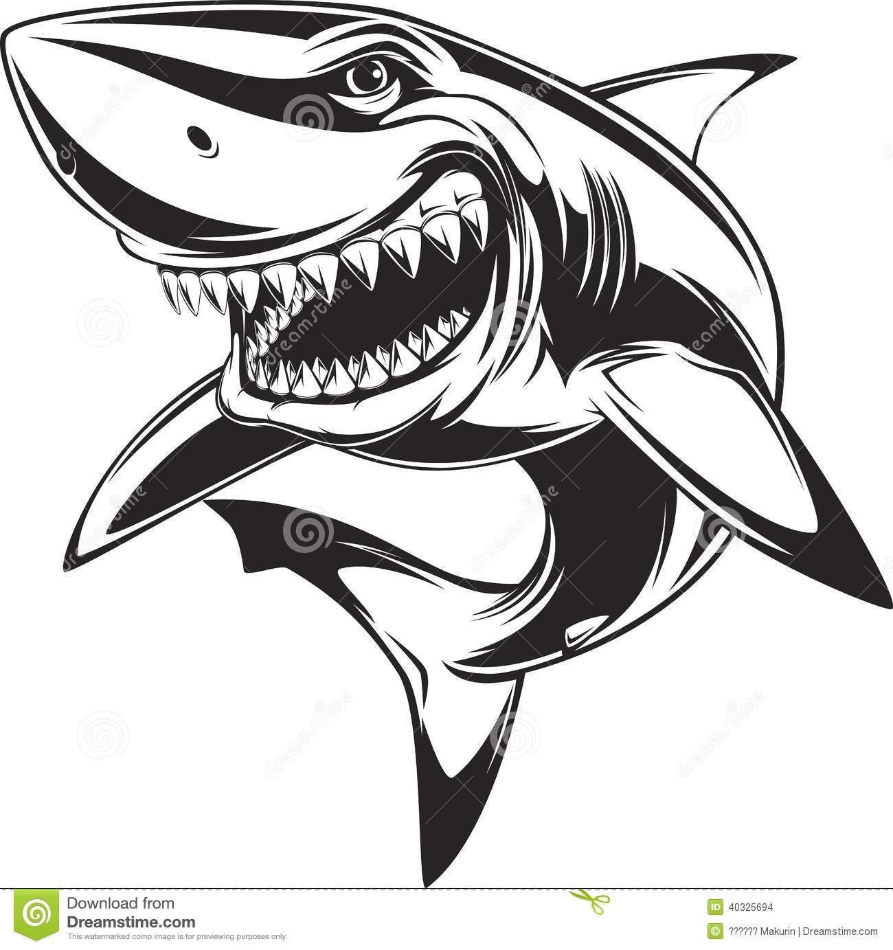 Stock Images White Shark Vector Illustration Toothy Image40325694 on scary crab coloring pages