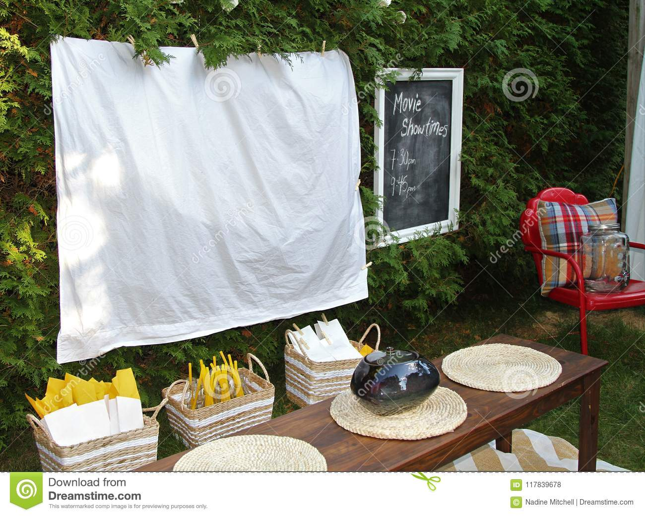 Royalty-Free Stock Photo & Set Up For Watching A Movie Outdoors With Food And Chairs Stock ...