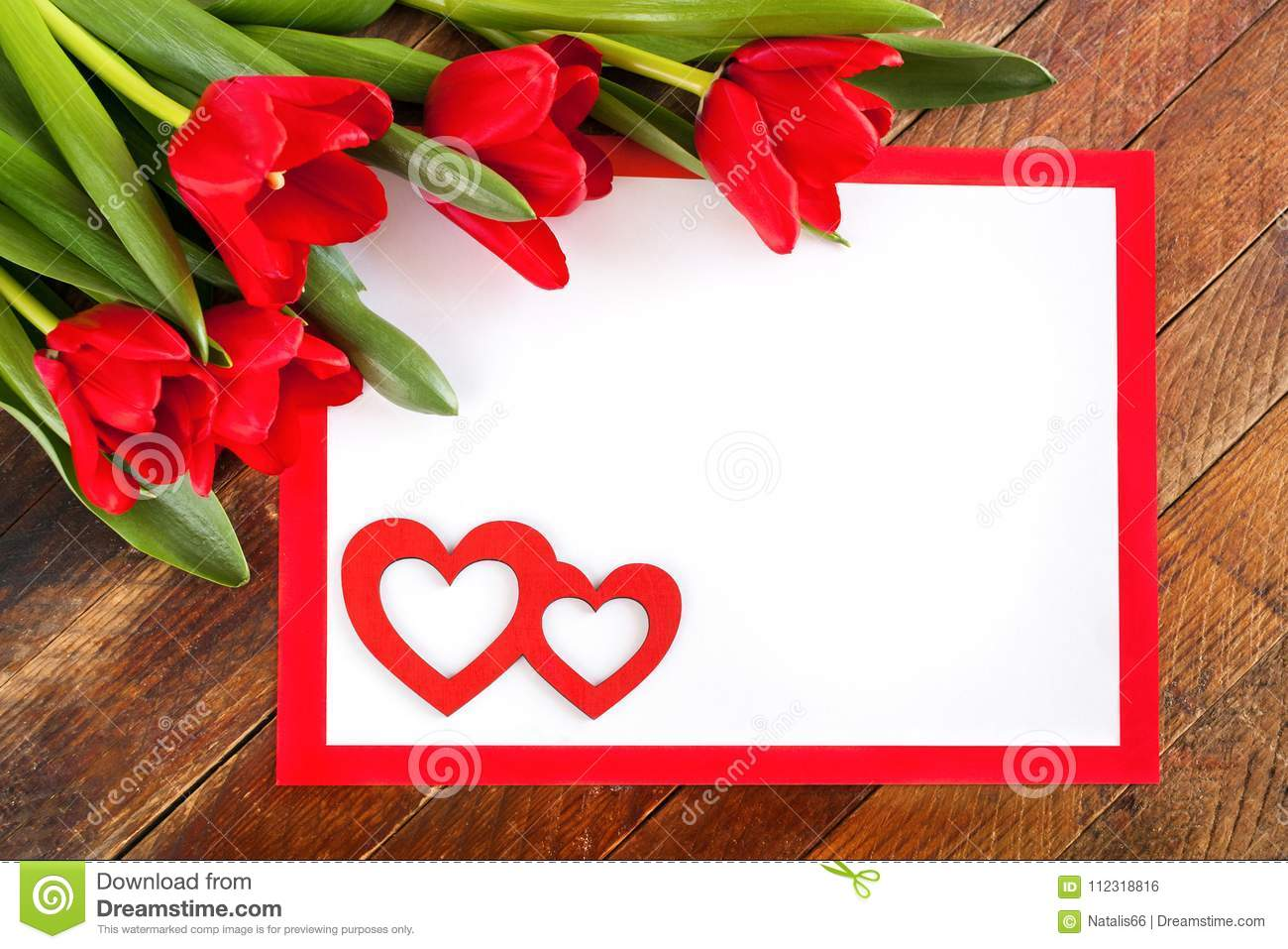 White Sheet In Red Frame, Red Tulips And Two Red Hearts On Rusti ...