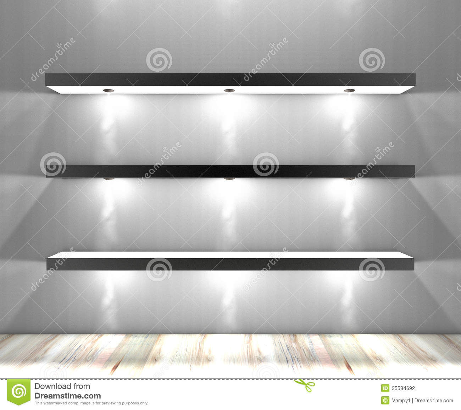 White Shelves With Lights Illuminated Spotlights Stock ...
