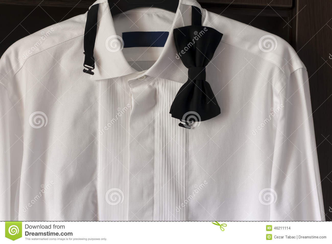 White Shirt With Black Bow Tie Stock Illustration Image