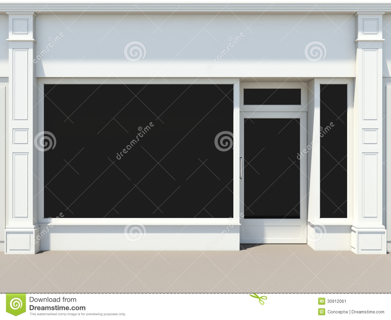 White shopfront stock illustration image of shop wall for Window design template