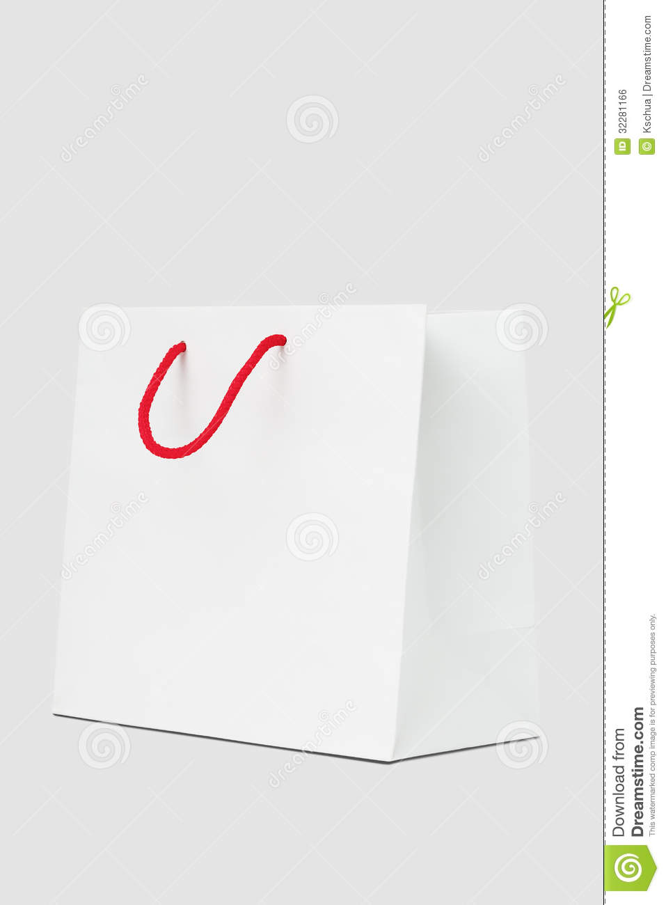 White Shopping Bag And Red Handle Stock Photo - Image ...