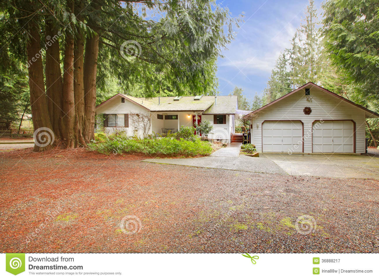 White siding house and garage royalty free stock for Big one story houses