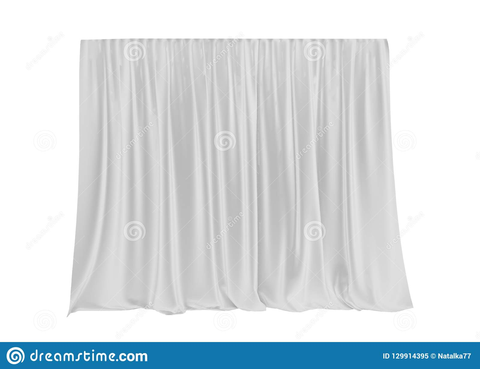 White silk curtain isolated on white background. 3d render.