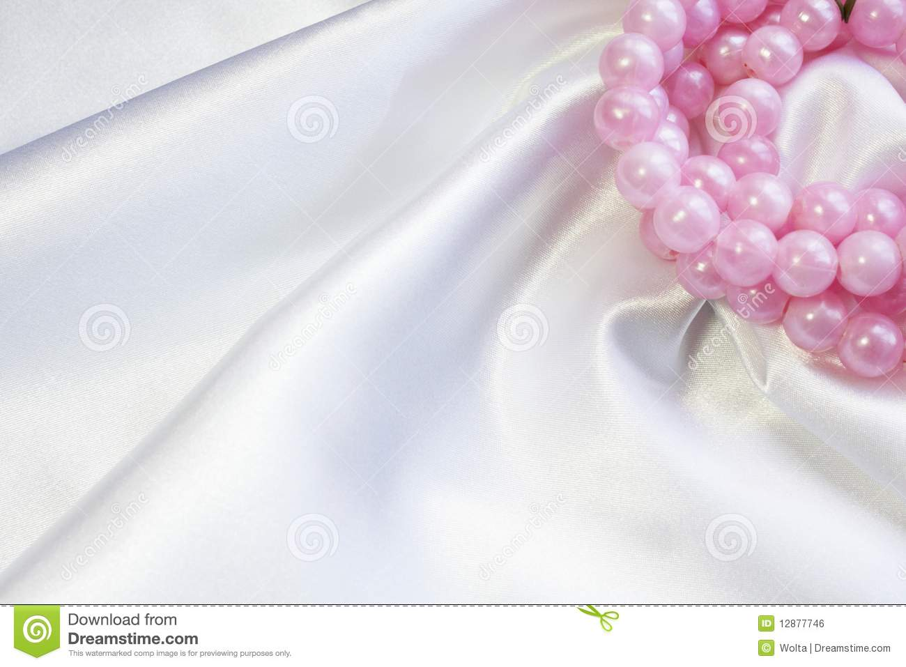 White silk with pink pearls
