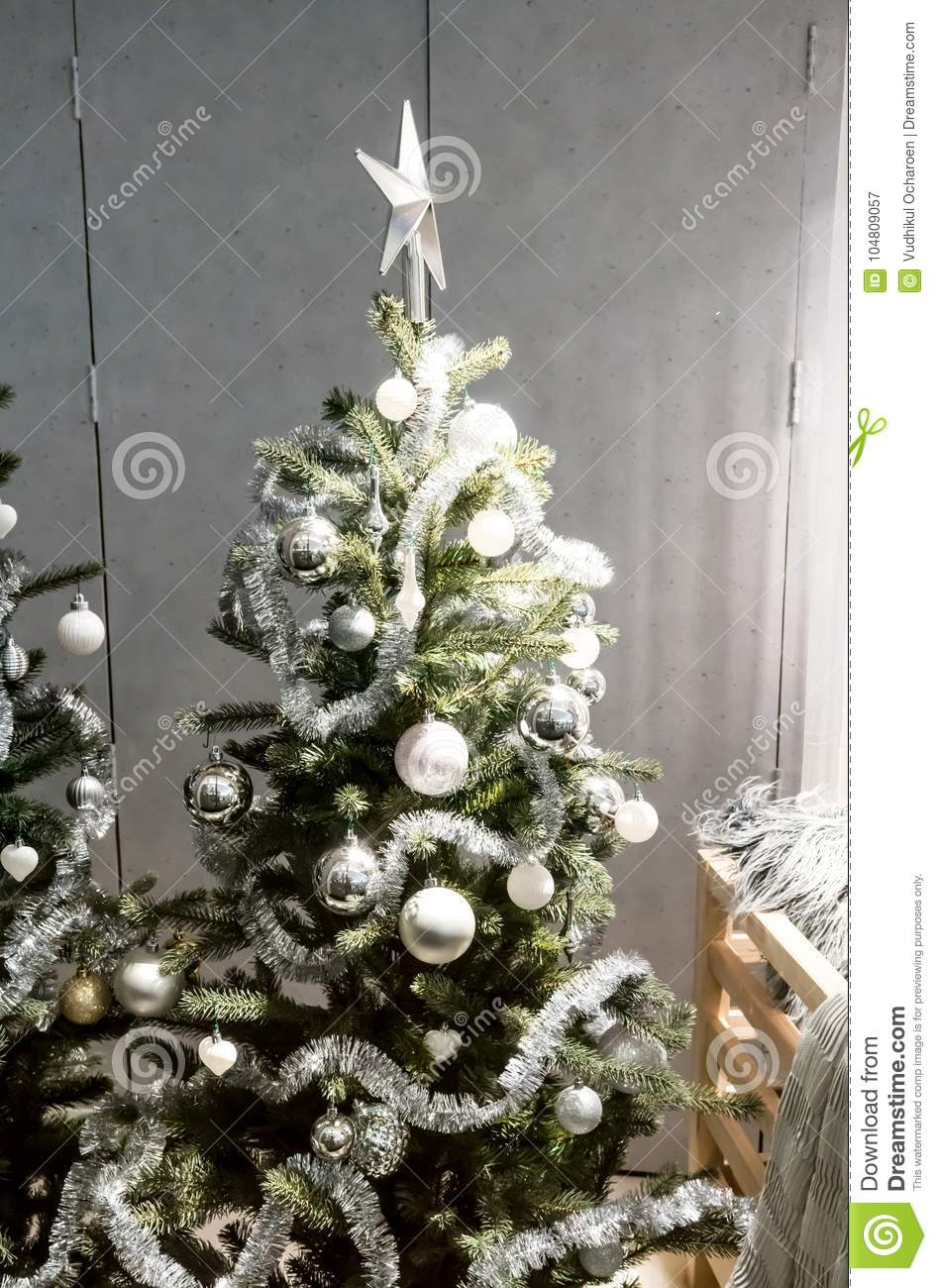 Tinsel Christmas Tree.White And Silver Decorative Christmas Tree With Tinsel