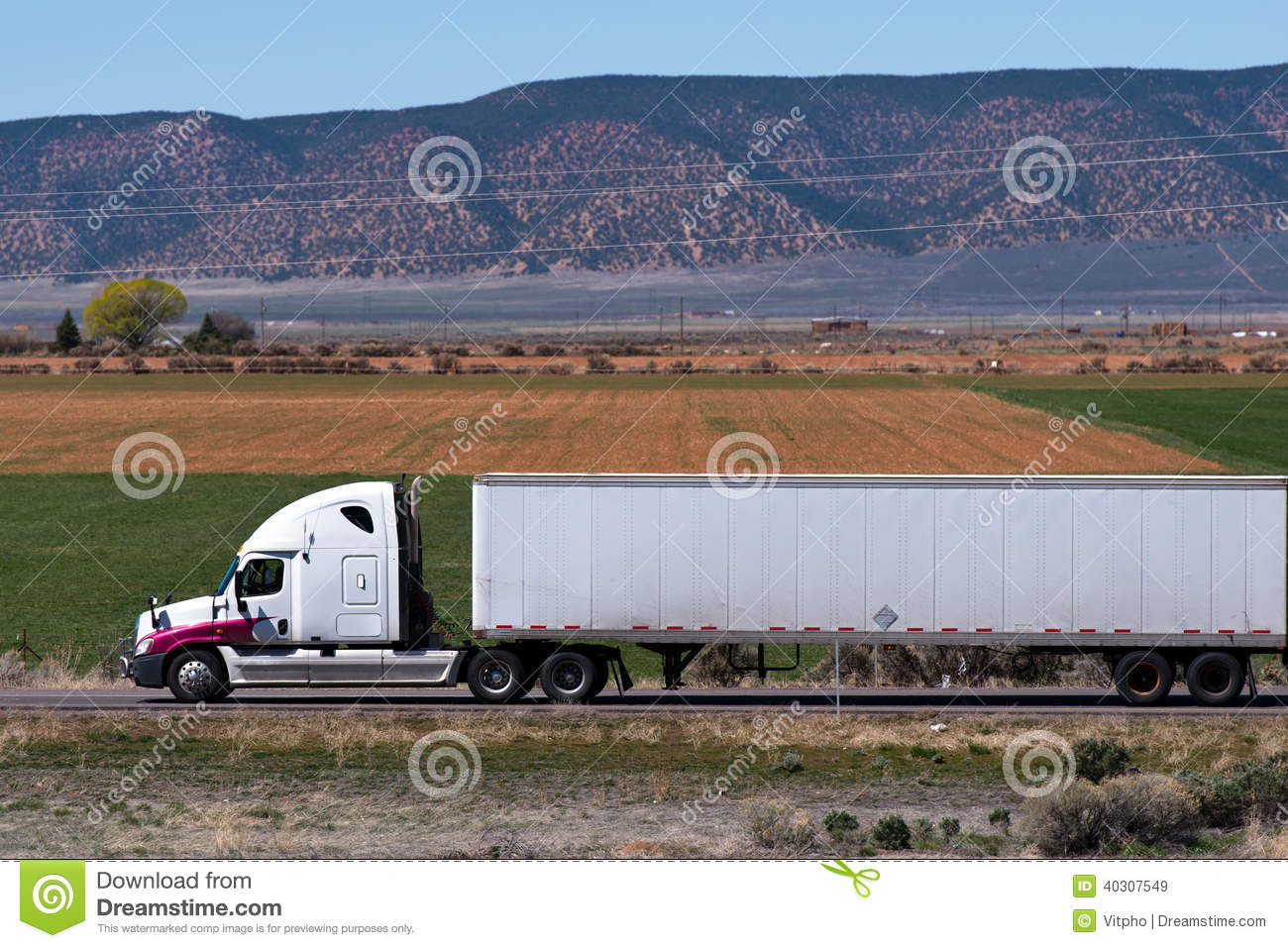 Semi Truck Seats >> White Simi Truck And Trailer On The Nature Background Stock Image - Image: 40307549