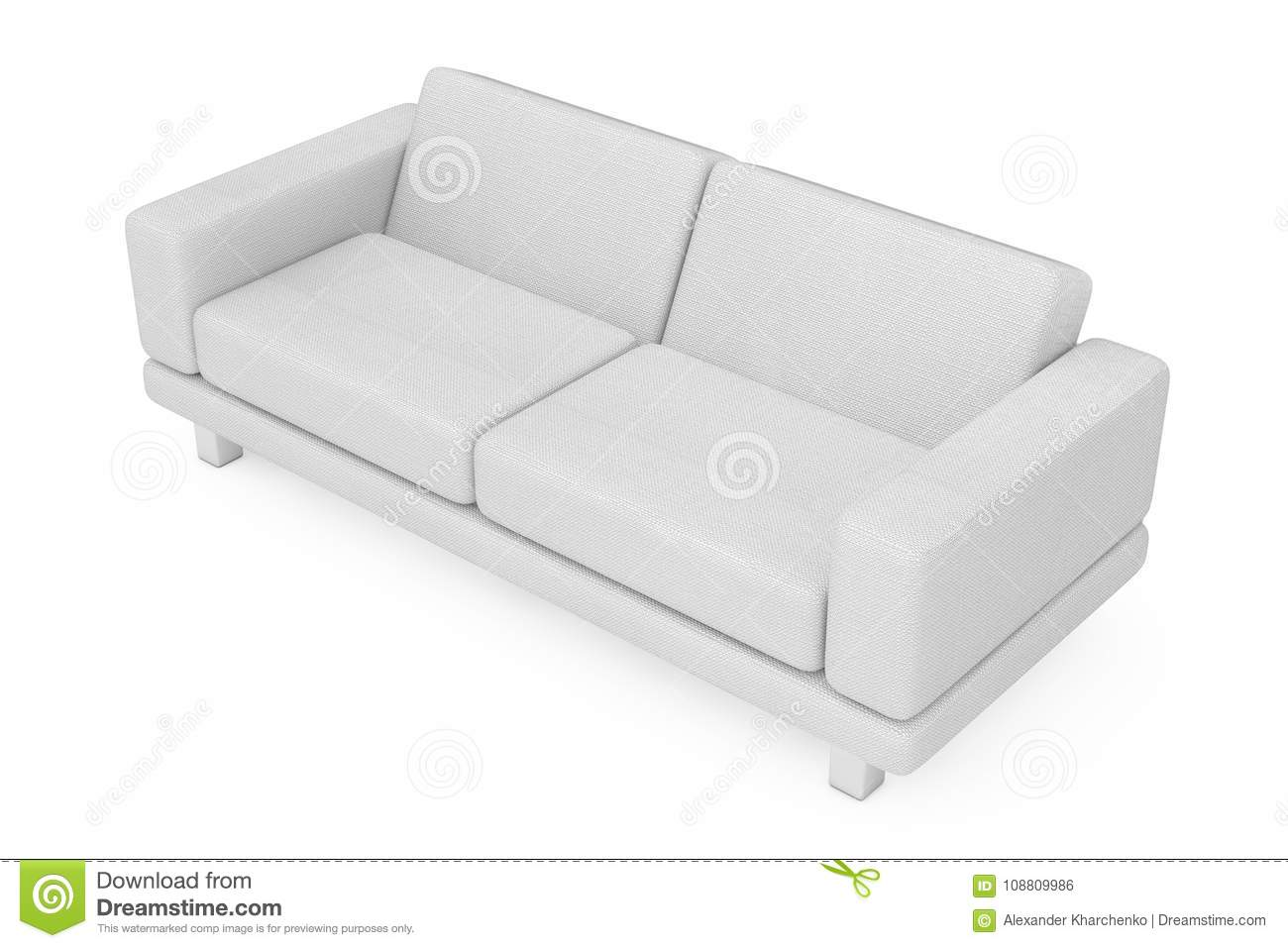 White simple modern sofa furniture on a white background 3d rendering
