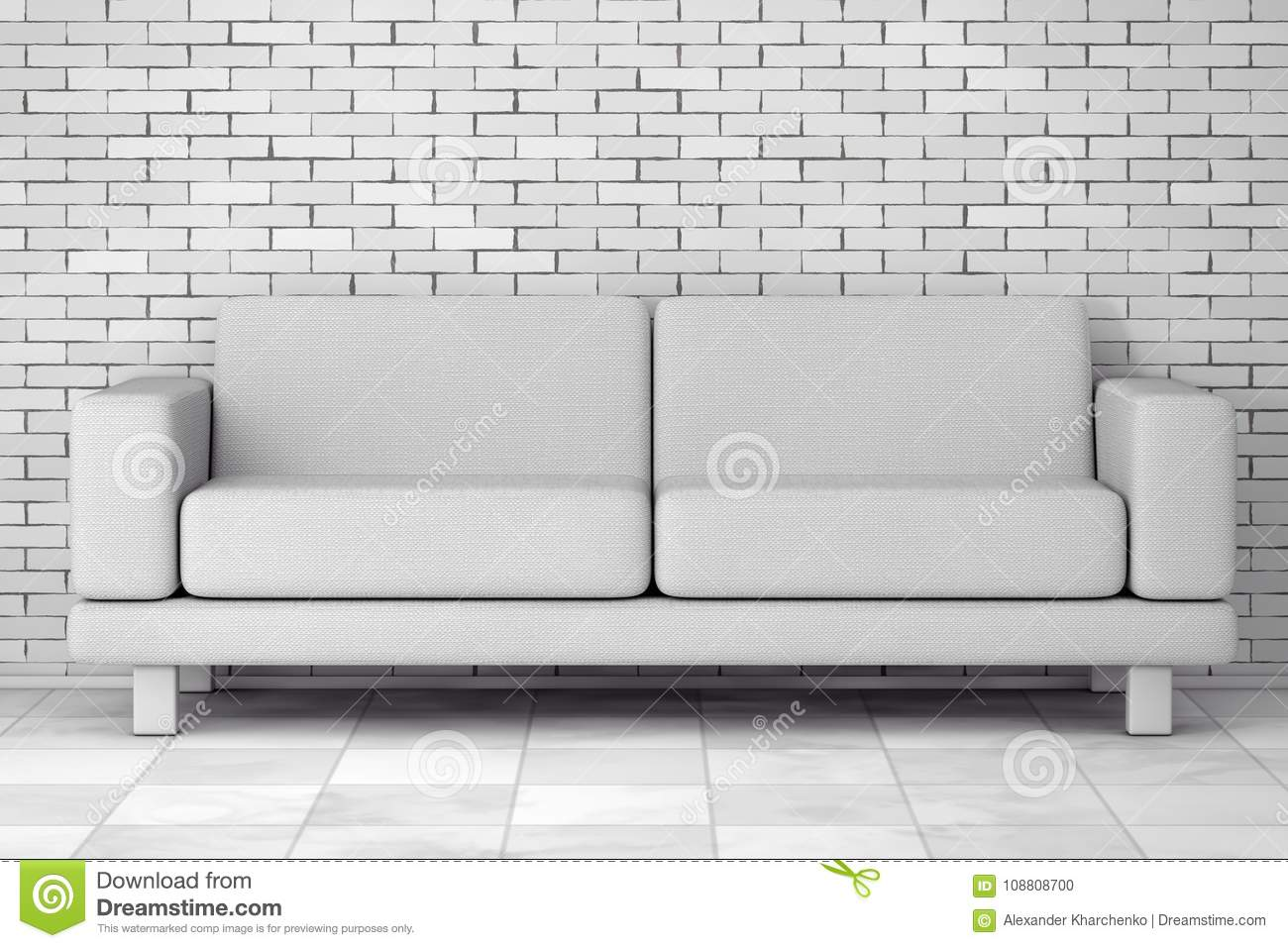 White simple modern sofa furniture in front of brick wall 3d rendering