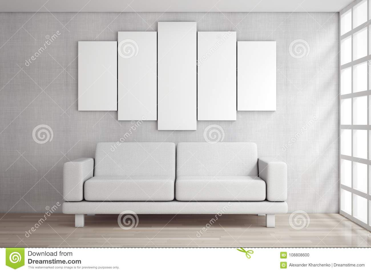 White simple modern sofa furniture under blank white poster in front of brick wall 3d rendering
