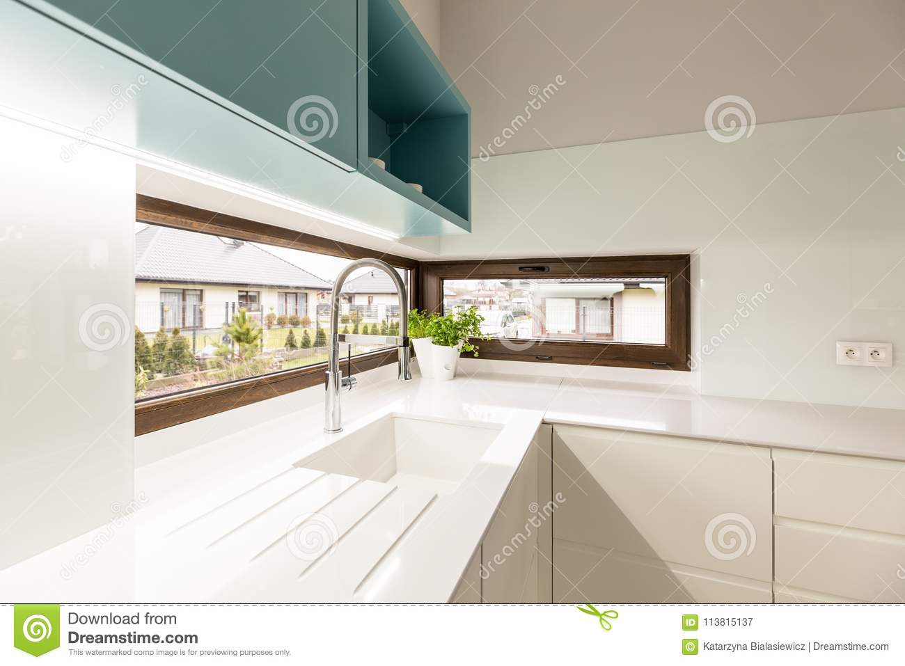 Windows In White Kitchen Interior Stock Image Image Of