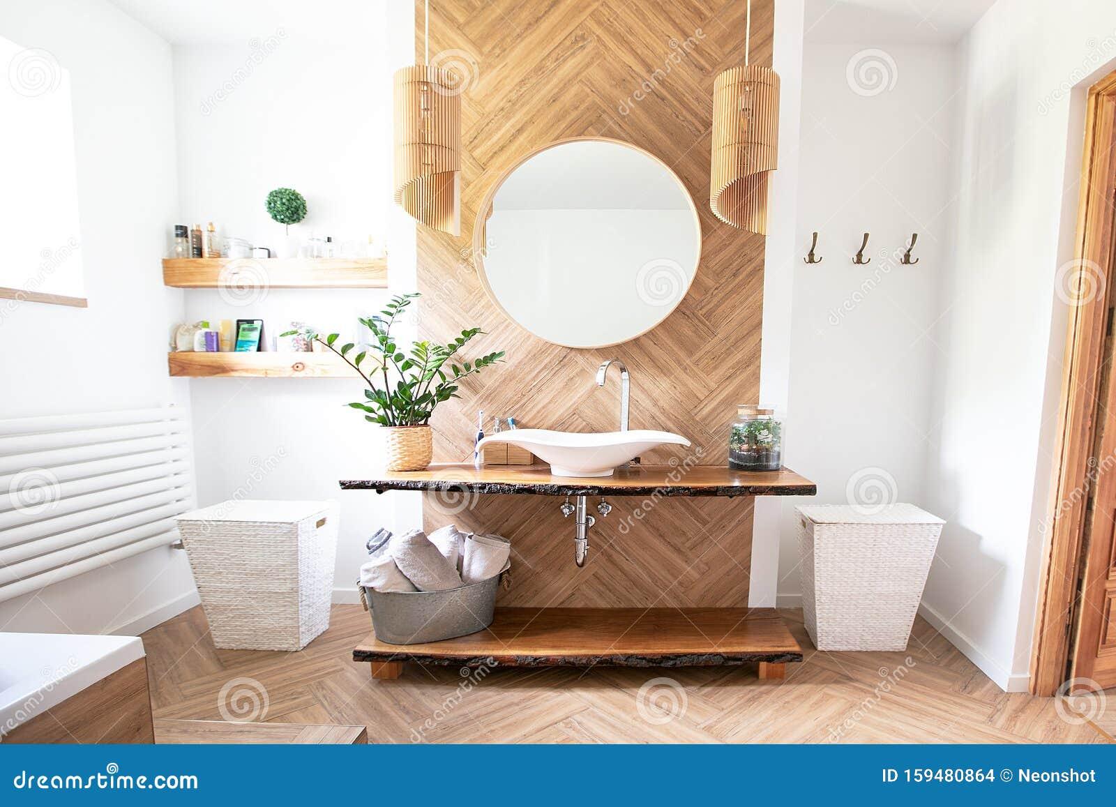 Boho Style Bathroom Interior Stock Photo   Image of estate ...