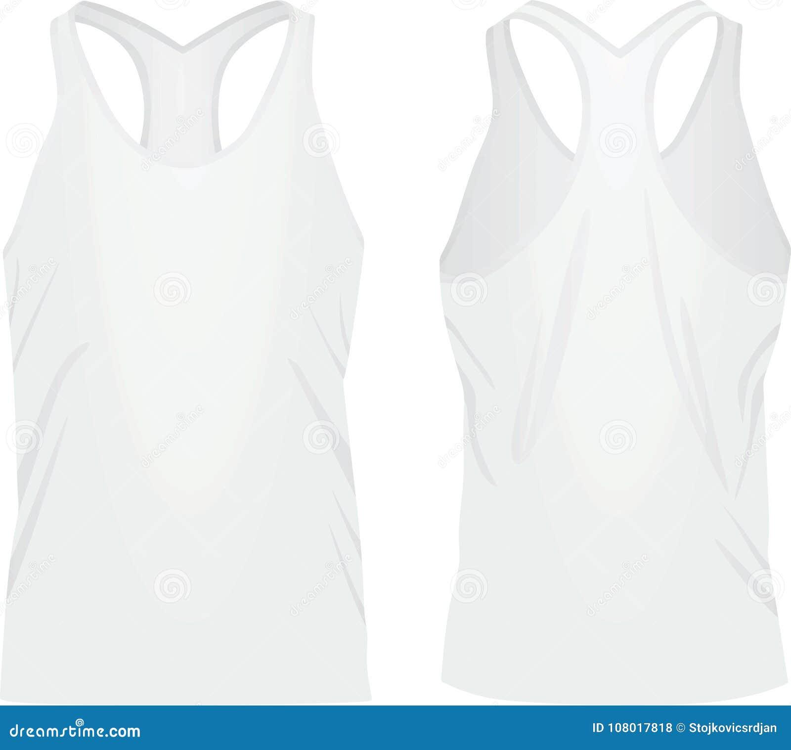 7606e8cabf4a4 White sleeveless t shirt stock vector. Illustration of blank - 108017818