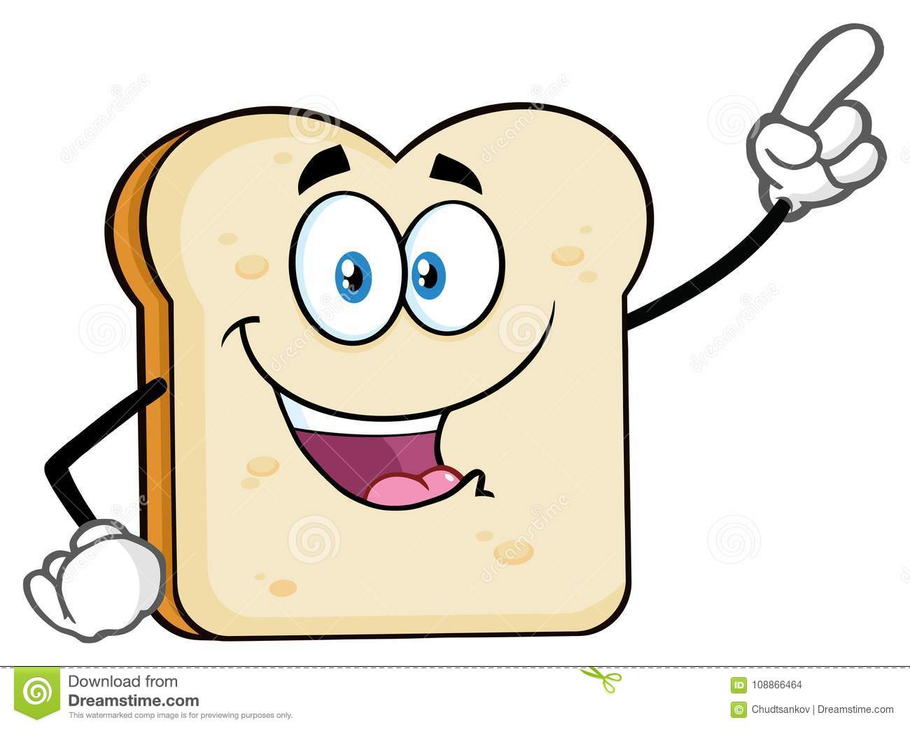 White Sliced Bread Cartoon Mascot Character Pointing
