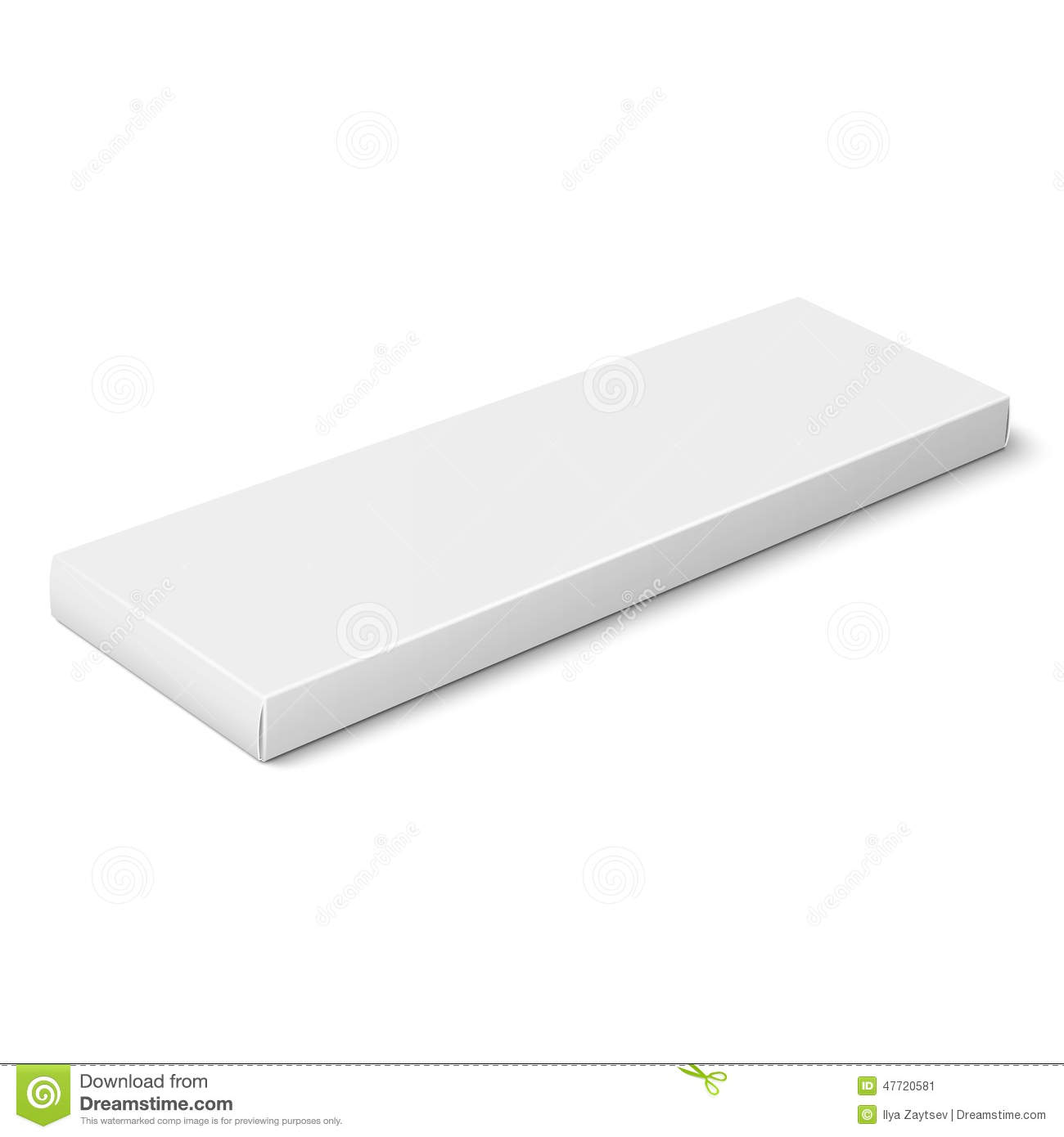 White slim paper or cardboard box template for chocolate, crayons ...