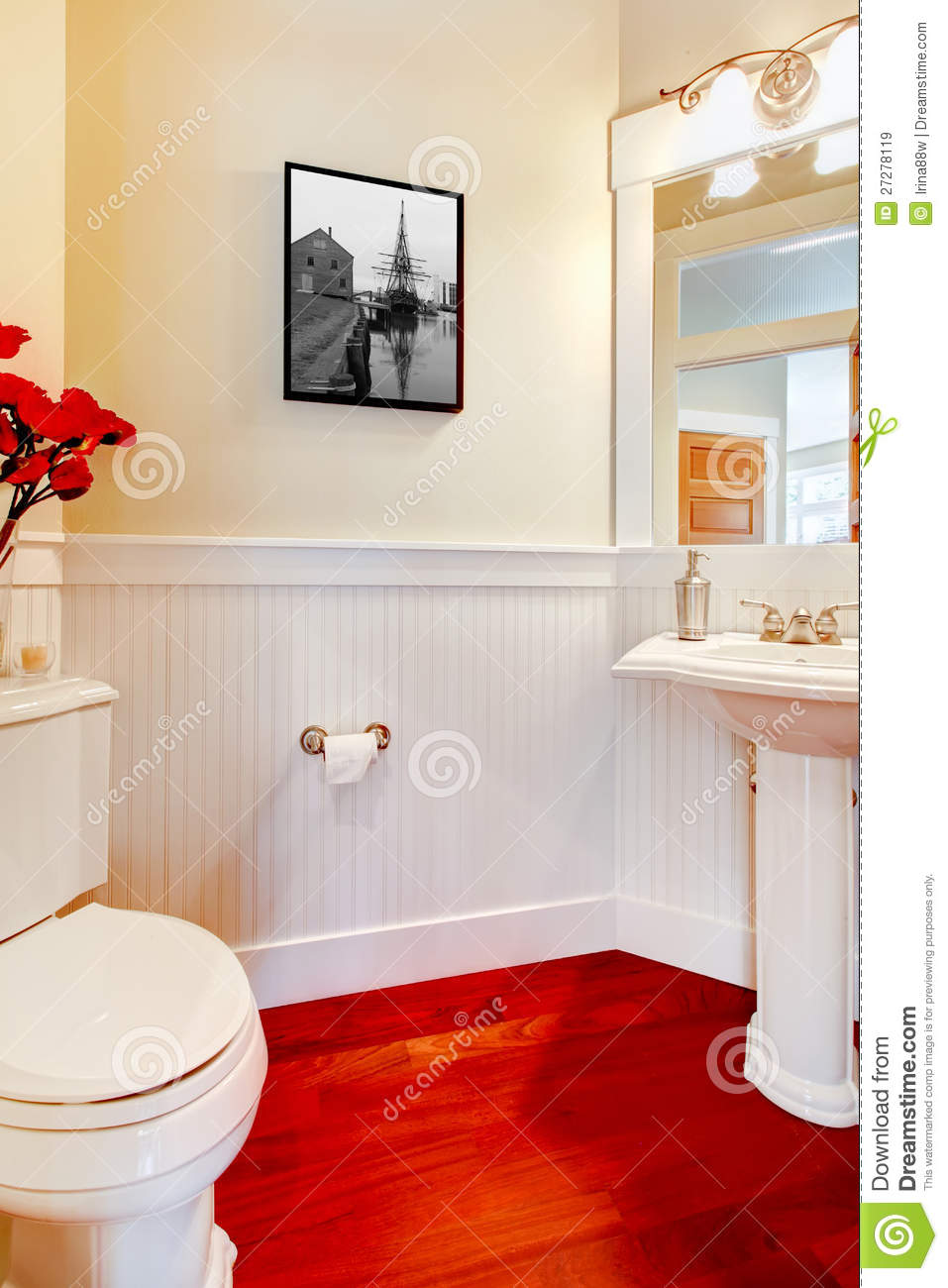 white small elegant bathroom with red wood floor royalty free stock