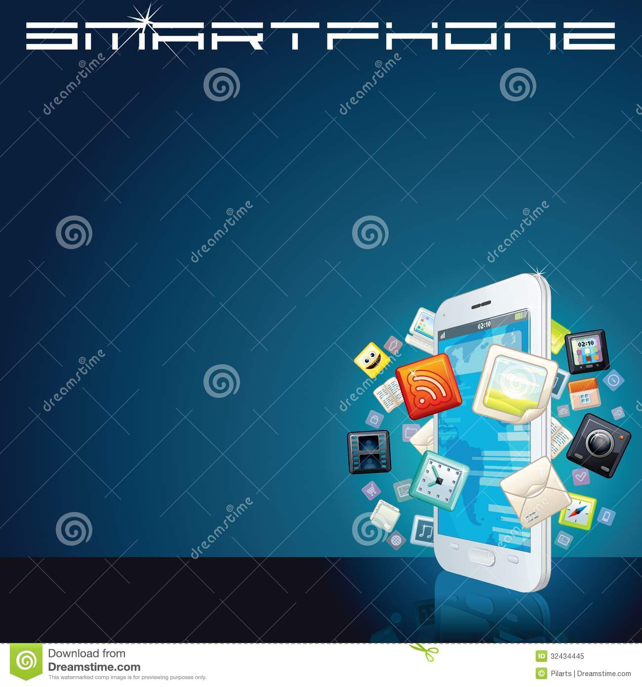 White Smartphone With App Icons. Vector Background Stock ...