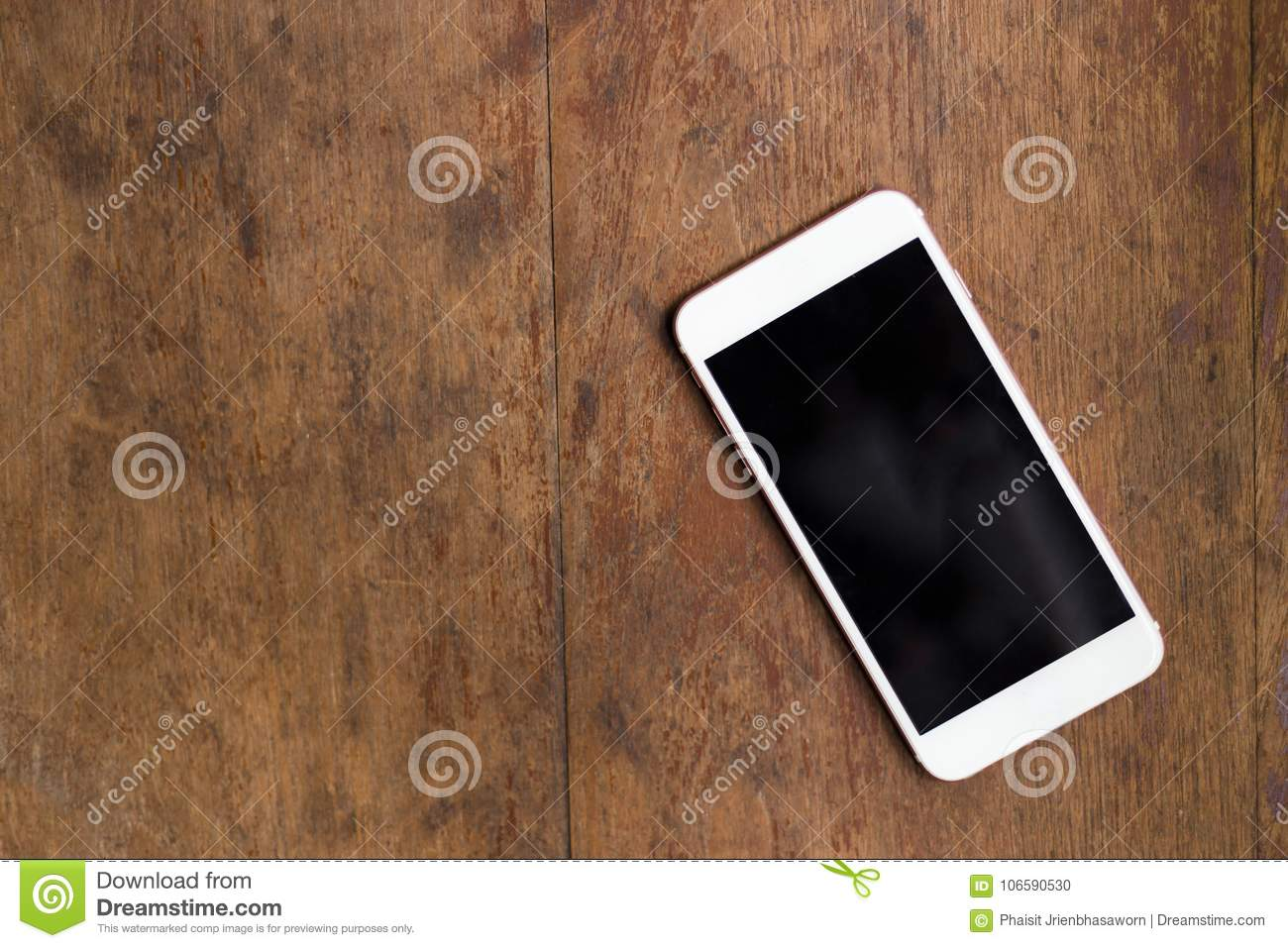 White Smartphone On The Old Wooden Background Top View Stock Photo