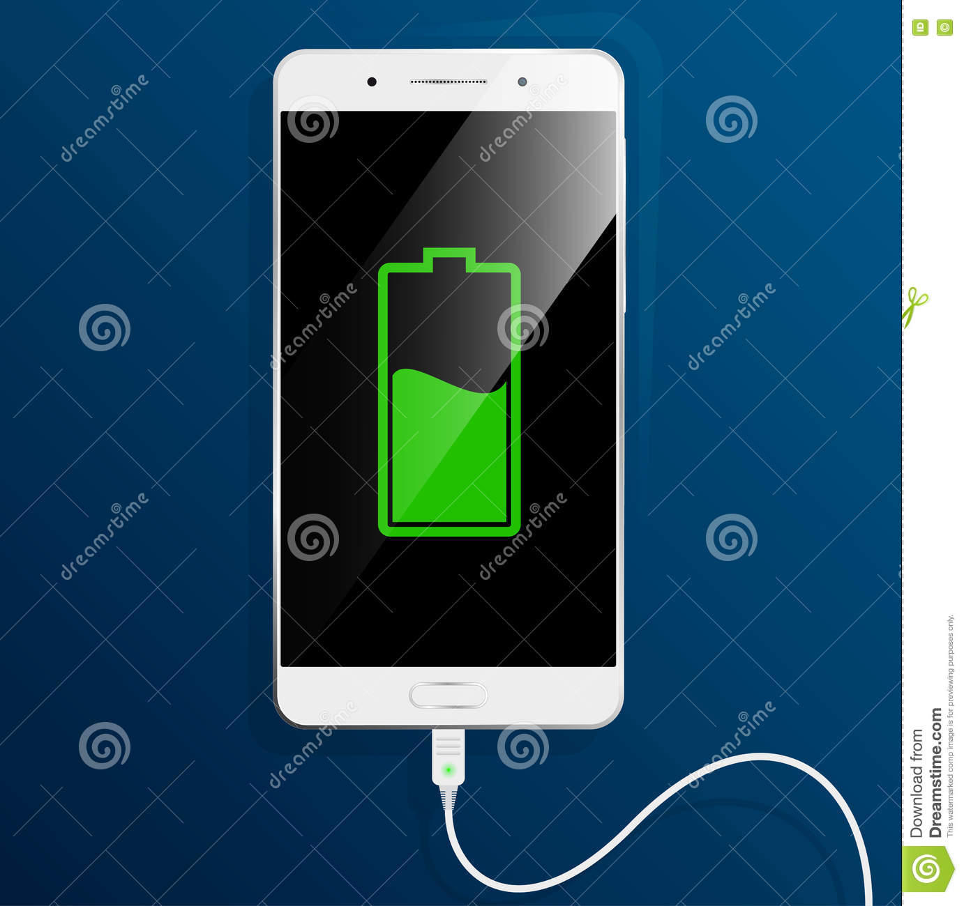 White Smartphone Is Charging The Cable Connected Stock