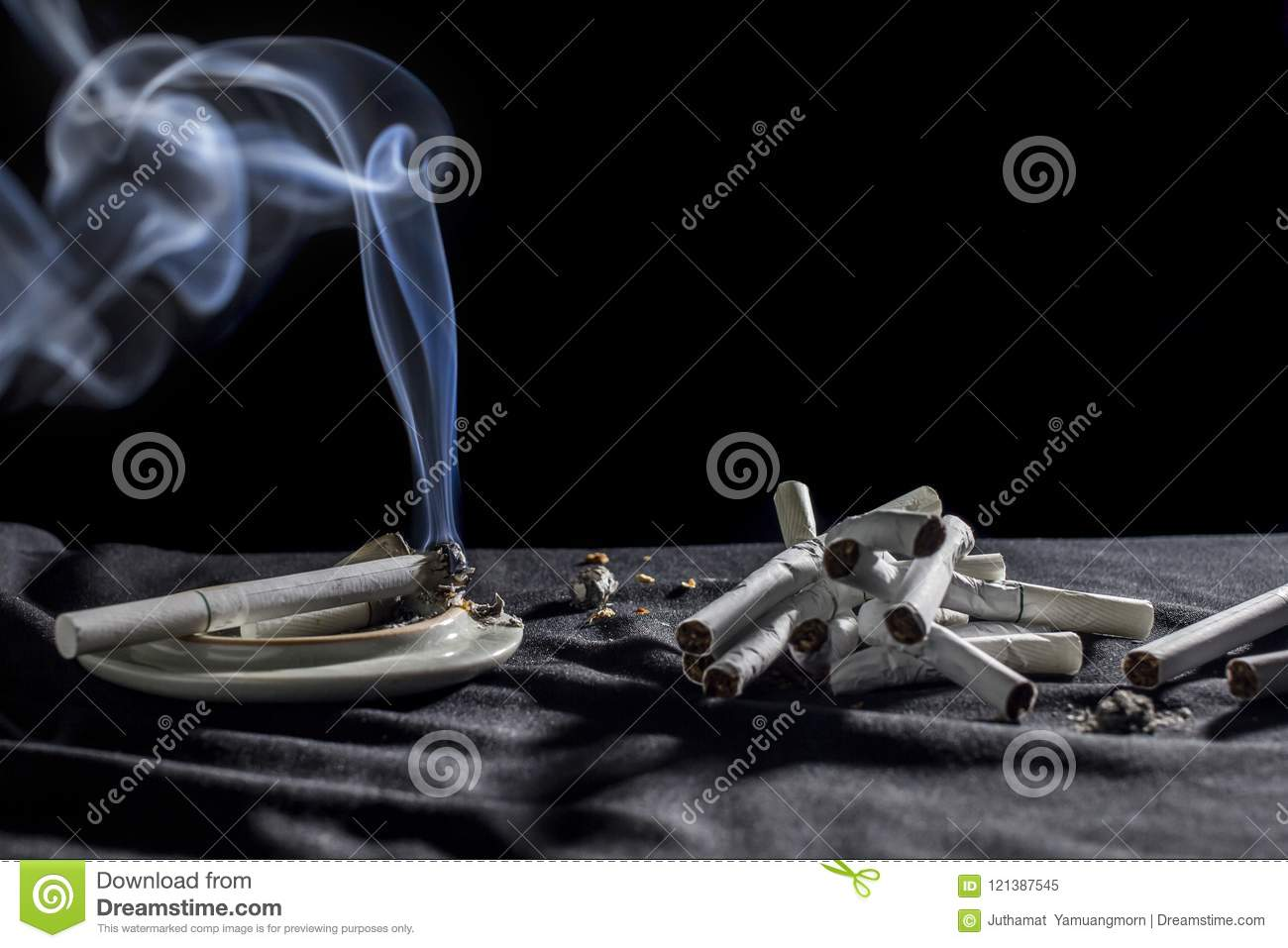 A White Smoke Cigarettes Concept Abstain From Smoking  On