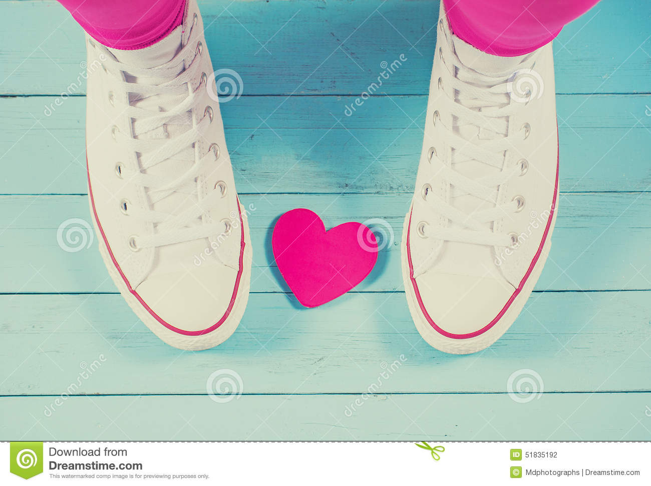 Download White Sneakers With Heart On Blue Wood Background, Filtered Stock Photo - Image of lovely, heart: 51835192
