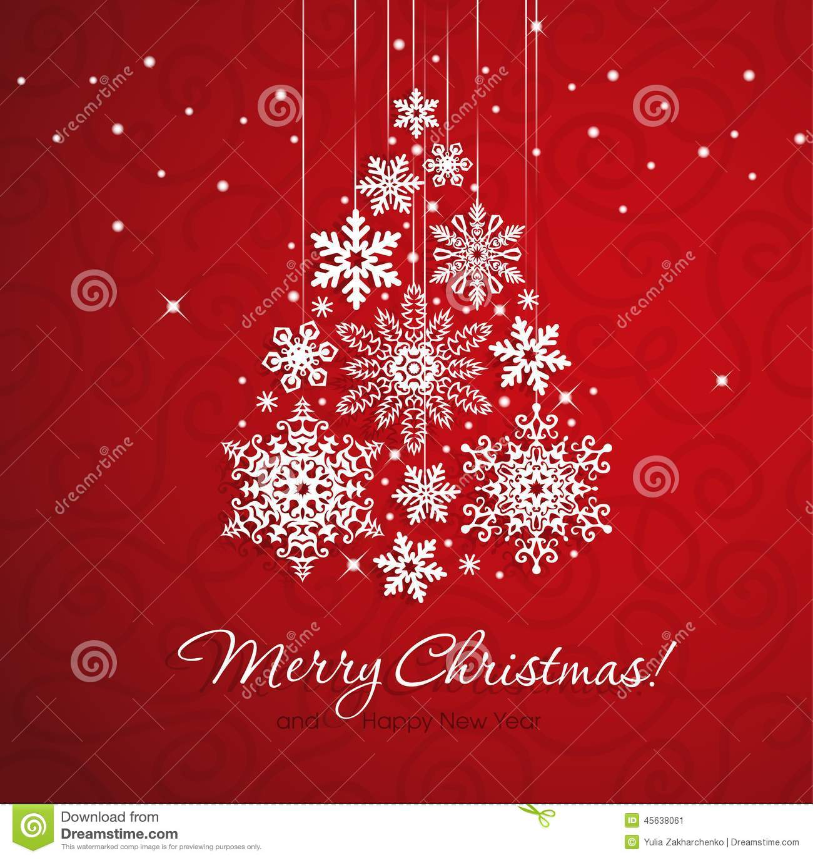 White snowflake christmas tree on red background stock