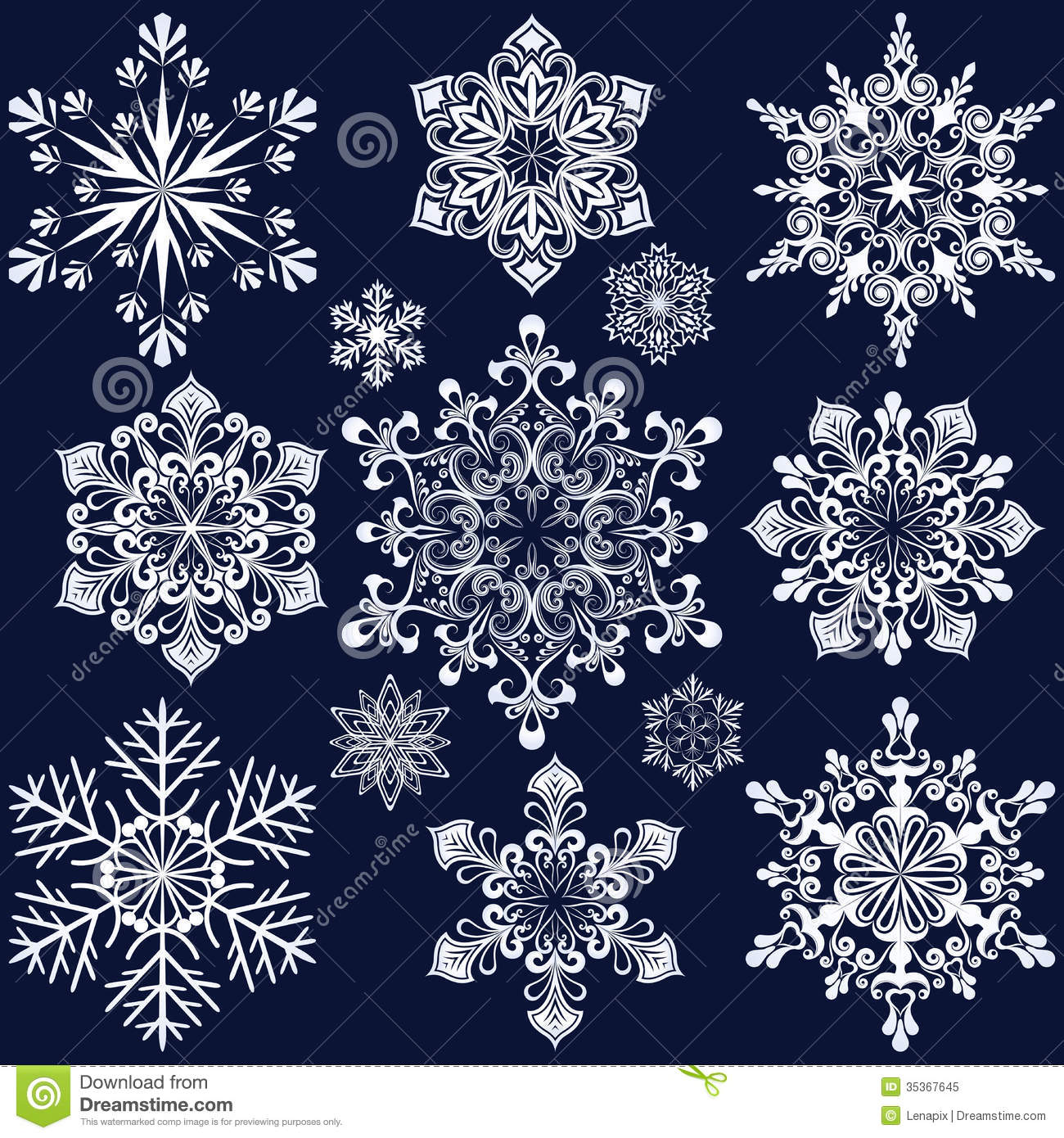 White Snowflake Shapes Stock Vector Image Of Contour