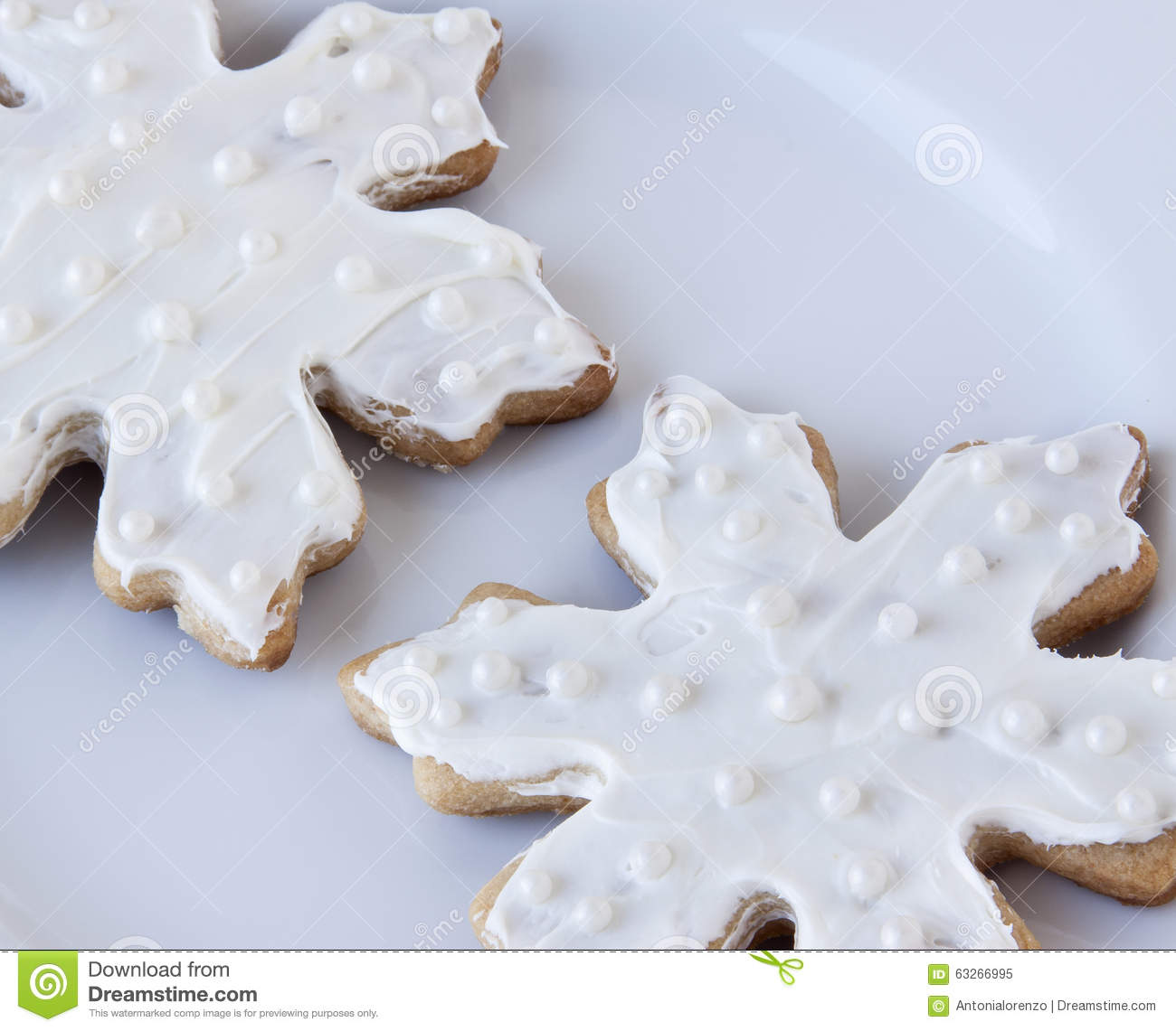 White Snowflake Sugar Cookies Stock Image Image Of Winter