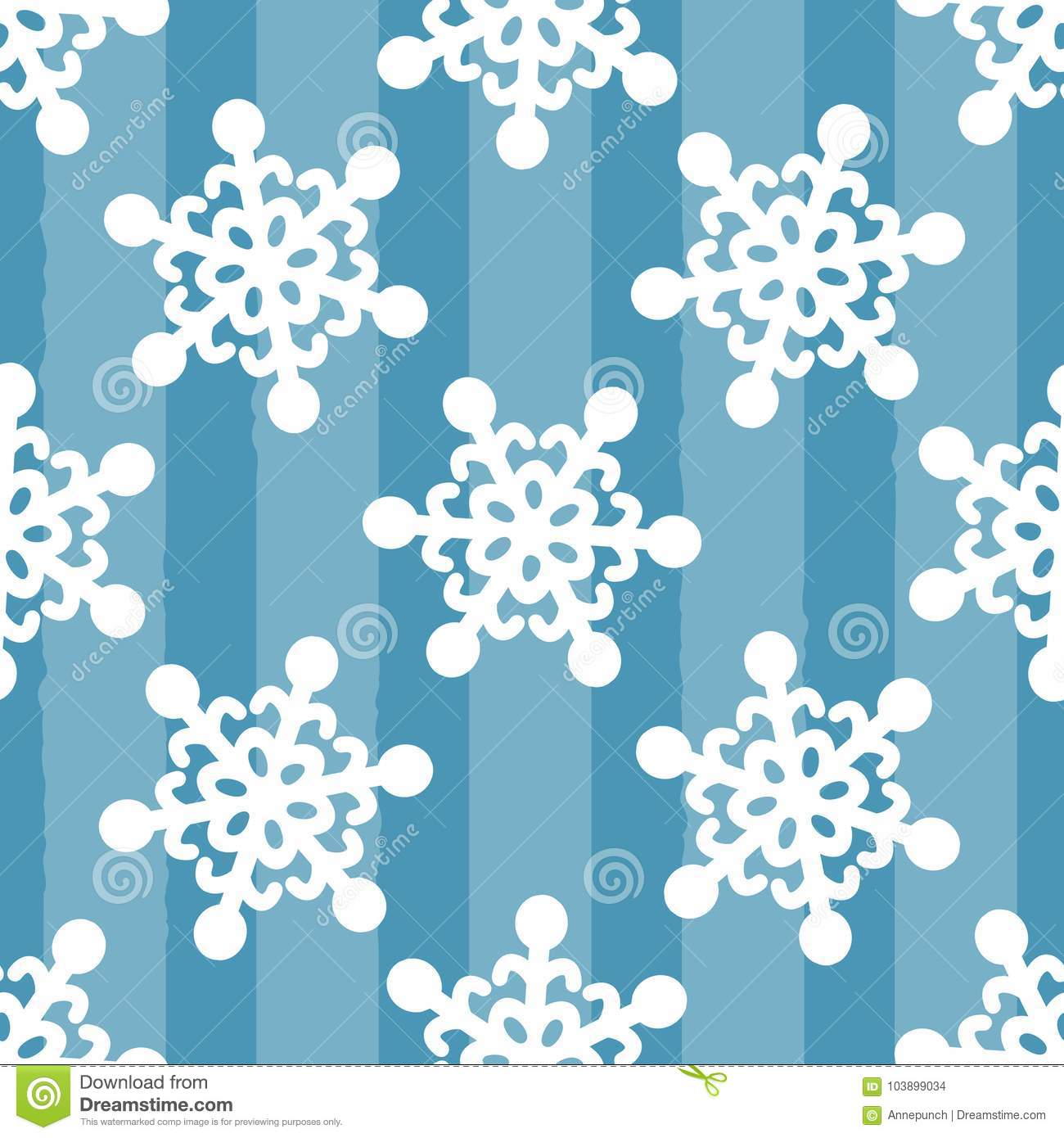 White snowflakes on striped blue background. Drawn by hand. Seamless pattern.