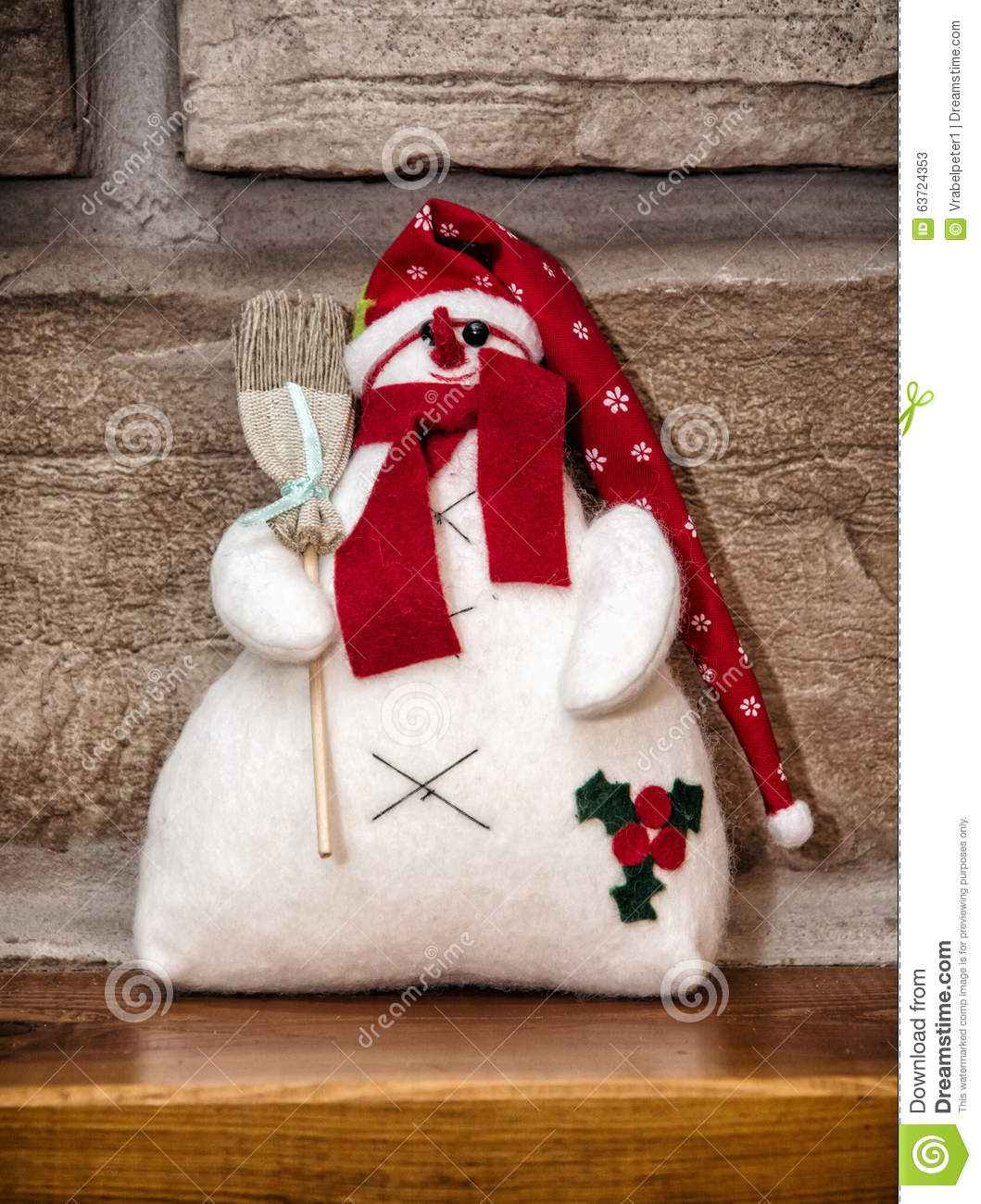 white snowman with red hat and broom christmas decoration - Christmas Broom Decoration