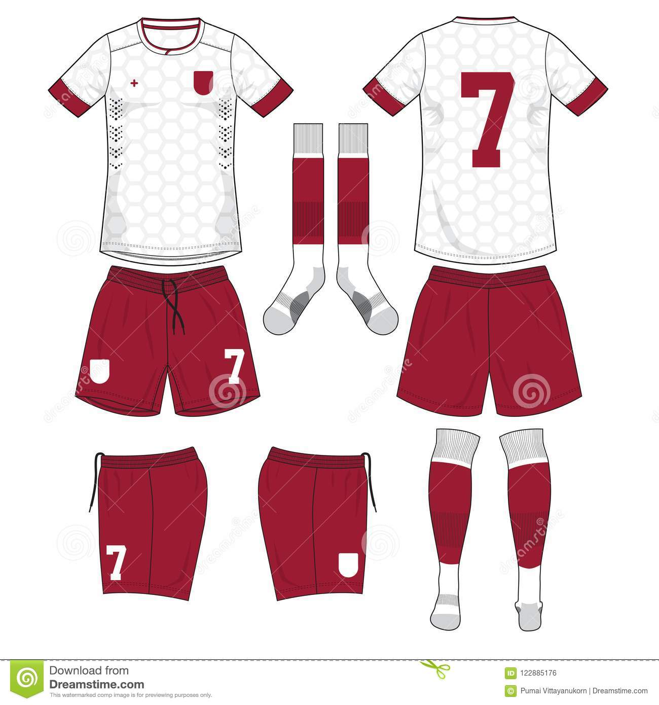 56a654ad3edff White Soccer Jersey With Red Sock And Red Short Mock Up Stock Vector ...