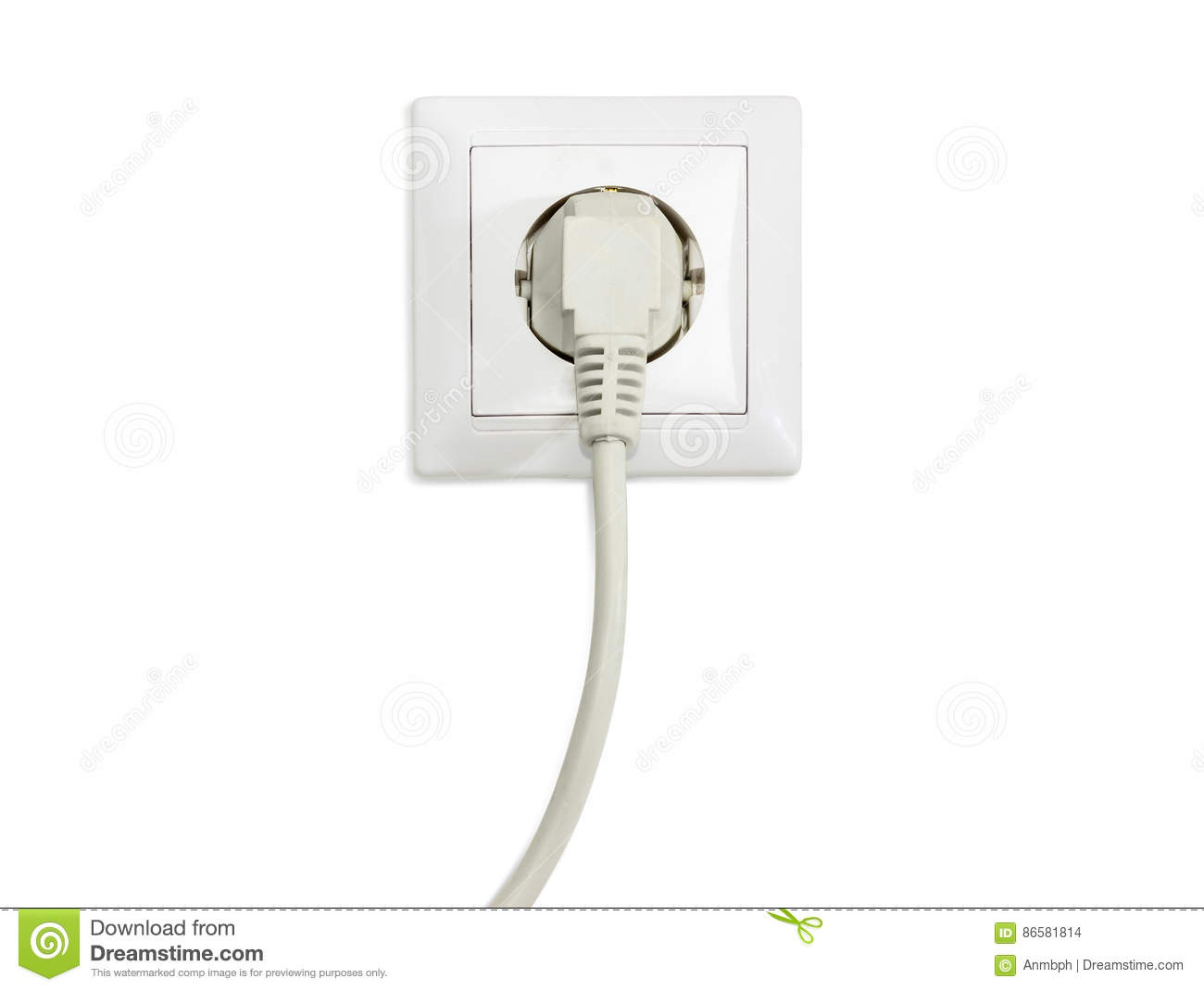 White Socket Outlet With Connected Corresponding Power Plug Stock ...