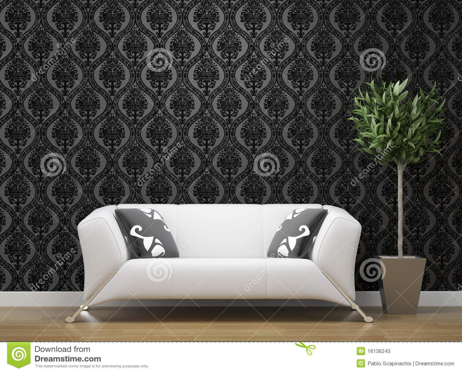living room dark grey and silver wallpaper