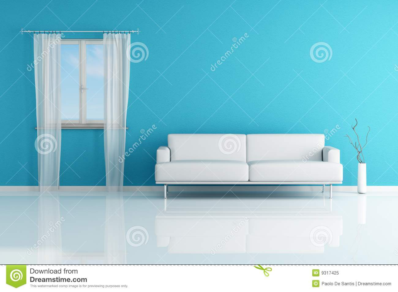 White Sofa In A Blue Room Royalty Free Stock Photo Image