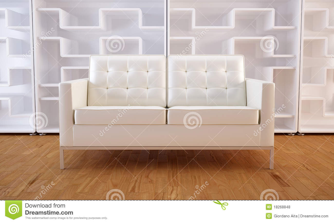 White Sofa And Bookcase Royalty Free Stock s Image
