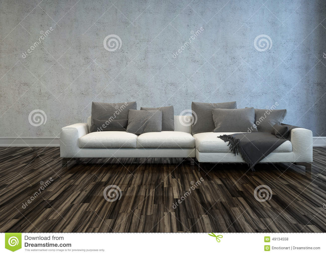 Stupendous White Sofa With Grey Cushions In Bare Room Stock Gamerscity Chair Design For Home Gamerscityorg
