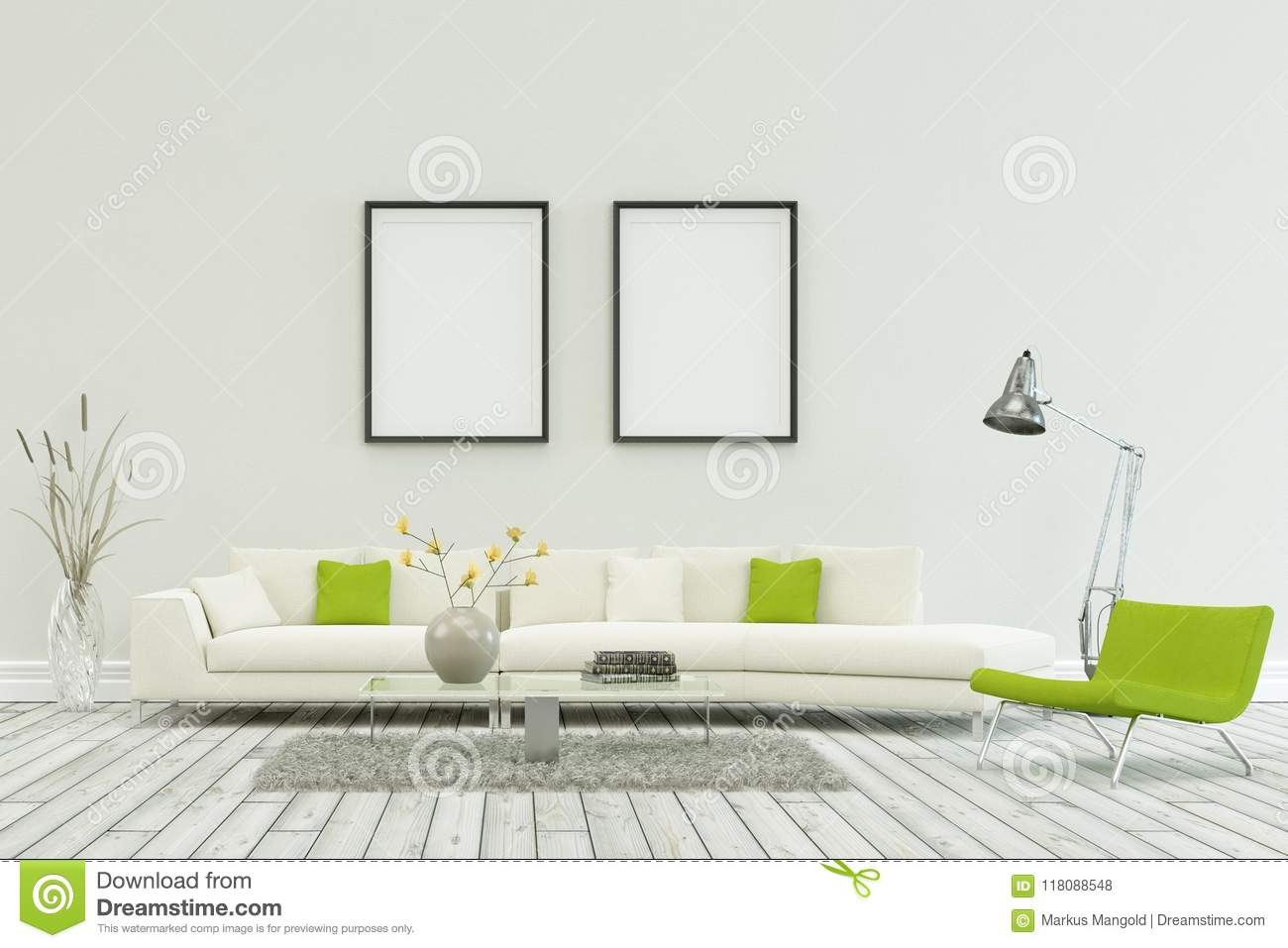 White Sofa In Modern Scandinavian Design With Two Frames Stock ...